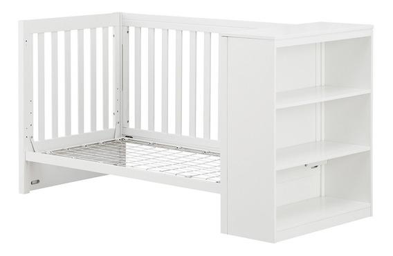 Cama Cuna Convertible Con Estantes | Blanco