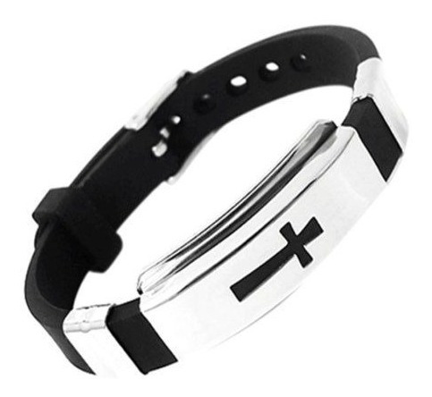 Pulseira Masculina Cruz Aço Inox Silicone Preta Bracelete