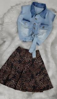 Conjunto Cropped Colete Jeans + Saia Listrada Rodada Boneca