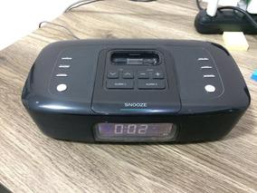 Rádio Relógio Despertador Fm Com Dock Para iPod