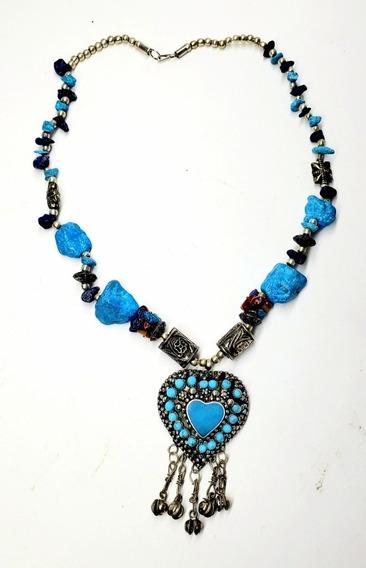 Colar Pendente Pedra Azul Coracao