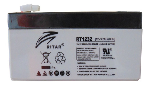 Bateria Ritar Rt1232,12v/3.2ah,recargable,13.5x6x6.7 Cm,1año