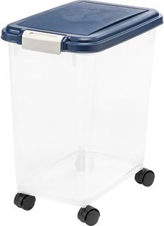 Iris Airtight Pet Food Storage Container, 33 Quart, Navy