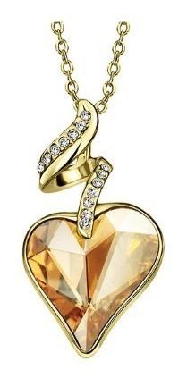 Colar Coração Com Cristal Austríaco E Strass