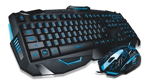Kit Teclado E Mouse Gamer Com Fio Lighting Azul Tc....