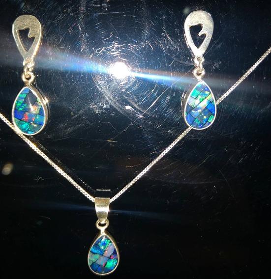 Conjunto Prata 950 (brinco/colar Opala Mosaico)