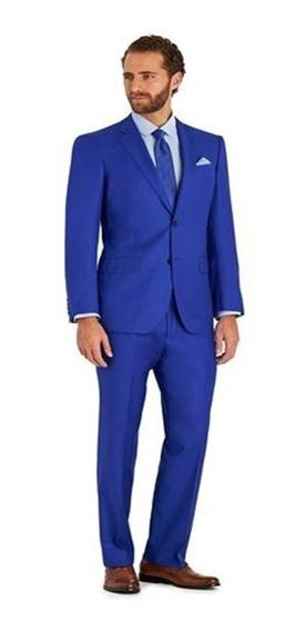 Terno Slim Masculino Oxford Azul Paleto + Calça