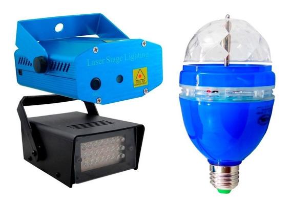Kit Festa Iluminação 3x1 Projetor Laser - Strobo Bola Maluca