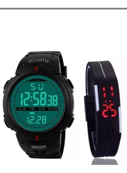 Relógio G Digital Atlantis Militar Shock +pulseira Led Brind