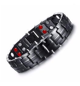 Pulseira Magnética Energética Preta Bracelete Masculino