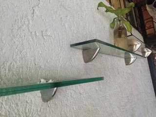 Set De Repisas De Cristal Con Herrajes De Acero Inox