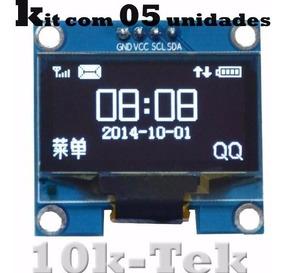5x Display Oled 0.96 I2c Azul + Peças