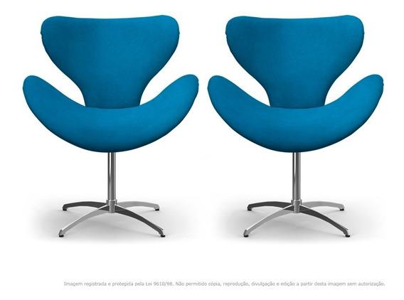 Kit Cadeiras Decorativas Poltrona Egg Azul Turquesa