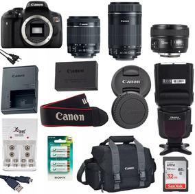 Câmera Eos Rebel Canon T6i + 3 Lentes + Flash + Bolsa + 32gb