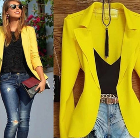 c59f4c10c Blazer Feminino Acinturado - Calçados, Roupas e Bolsas Amarelo no ...