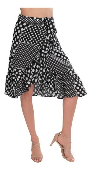 Faldas Mujer Cruzada Bolitas Negro Blanco X91106