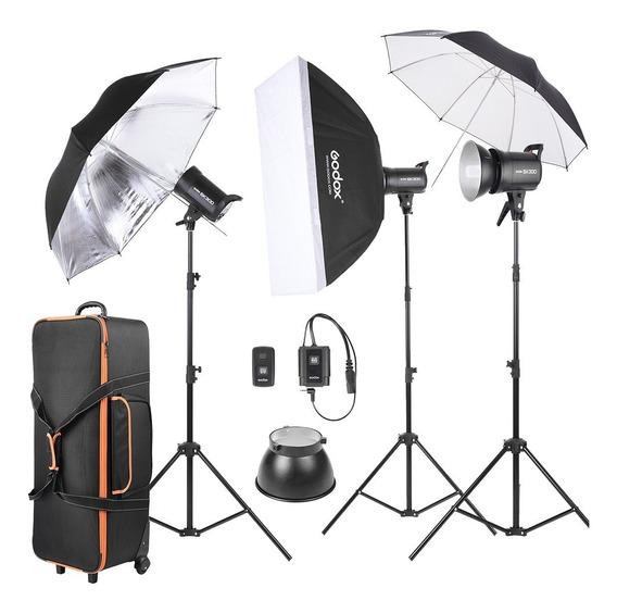 Kit Fotografia Estudio 3 Flashes Godox Sk300-d Con Garantia