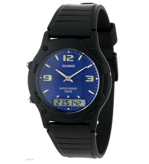 Relógio Casio Masculino Digital Analógico Aw-49he-2avdf Azul