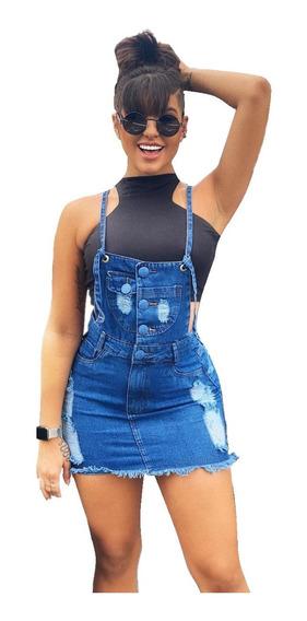 Saia Jardineira Salopete Jeans Feminina Botões Moda Feminina