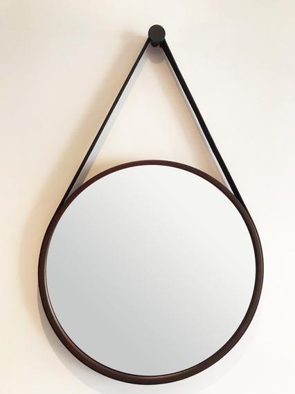Espelho Adnet Marrom 50cm Alça Preta Com Pendurador