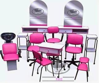 Equipo Para Estética Salón De Belleza 14 Muebles Mod Glam