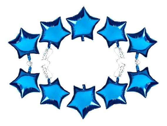 10 Estrellas Metalizadas Azul - Celeste De 10 Pulgadas 25 Cm
