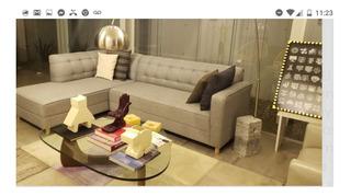 Sala Capitonada Vintage En Esquina Linato Gris Salas Mueble Muebles