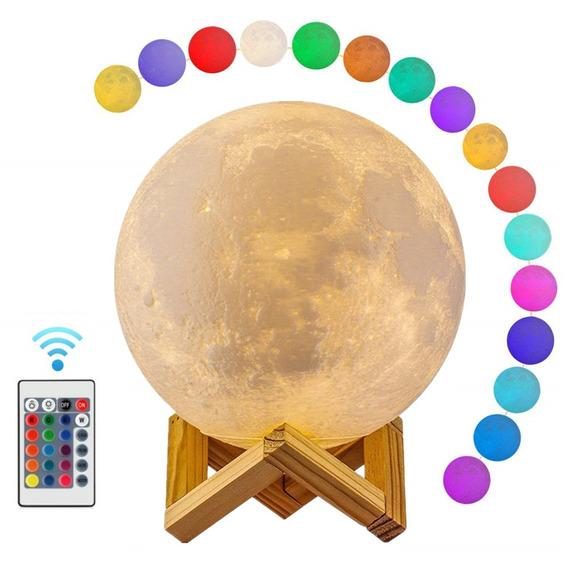 Luminária De Lua 20cm 16 Cores (controle Remoto)