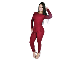 Conjunto Feminino Calça E Blusa Ribana Canelada Frio