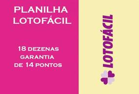 Planilha Lotofácil - 18 Dezenas Com Garantia De 14 Pontos