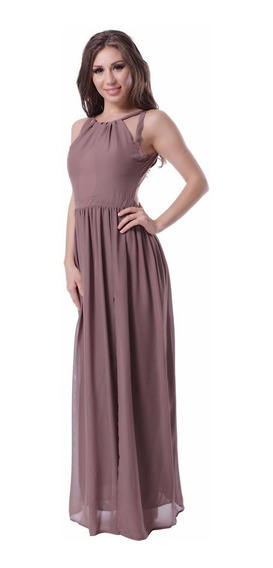 Hermoso Vestido Largo Color Vison
