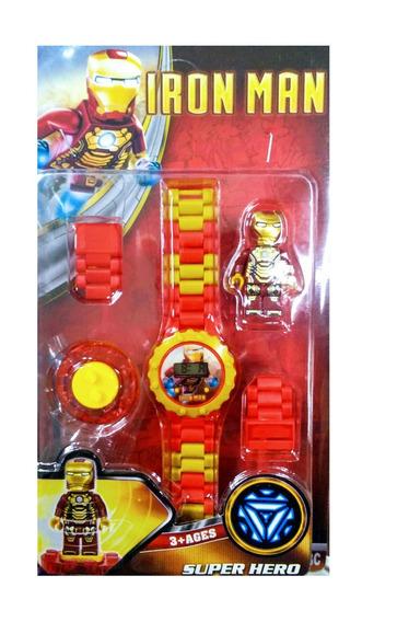 Relógio Infantil Pulseira Personagem Homem De Ferro Lego