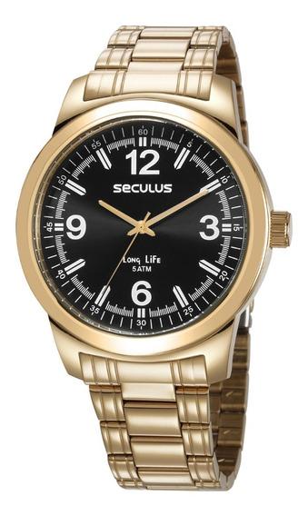 Relógio Seculus Masculino Analógico Dourado 23639gpsvda3