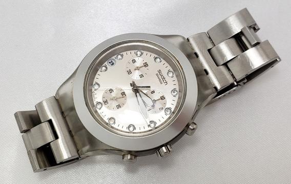 Relógio Feminino Swatch Irony Alumínio Cristais E Cronógrafo