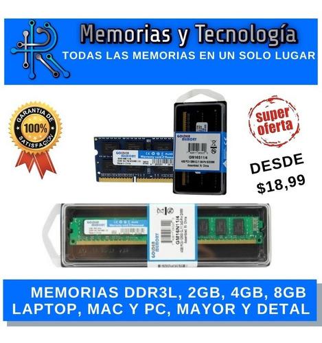 Imagen 1 de 1 de Memoria Ram Ddr3l (low Volt) 4gb, 8gb 1333mhz, 1600mhz
