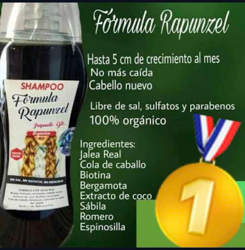Imagen 1 de 3 de Shampoo Fórmula Rapunzel Original Orgánico