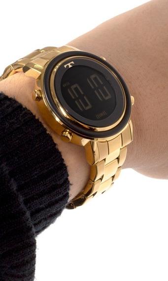 Relógio Feminino Digital Dourado Preto Aço Metal Bj3059ac/4p Original C/ Garantia Barato