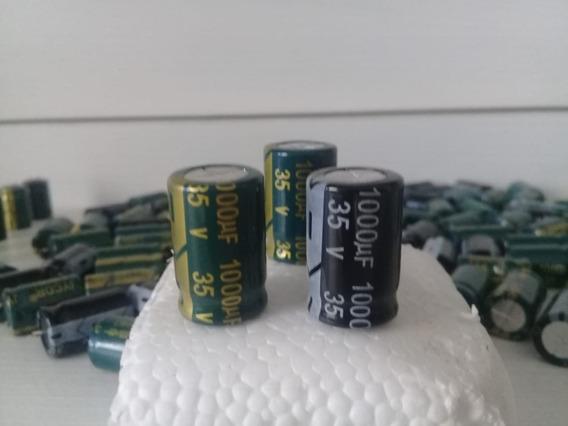 50x Capacitor Novos Eletrolitico 1000uf X 35v Já Cortado 105