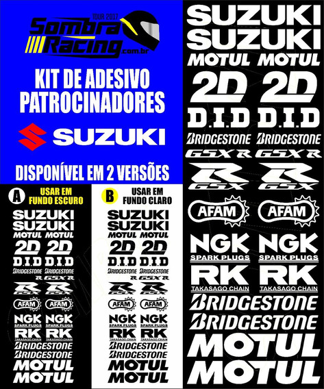 Kit Adesivo Patrocinador Suzuki Gsxr Srad Gsr Gsx 1000 750
