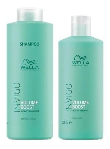 Kit Wella Volume Boost Shampoo Litro E Mascara Crystal 500g