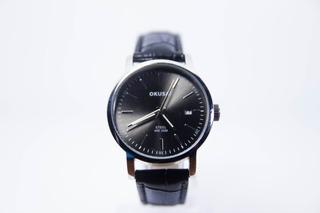 Reloj Hombre Mujer Elegante Okusai Ok0087 Sumergible 50 Mts Calendario Cuero Elegante Negro Marron Dorado Garantia 1 Año
