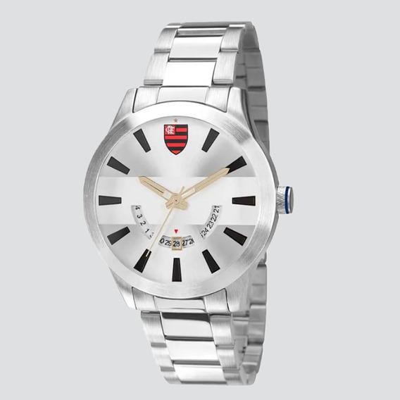 Relógio Technos Flamengo Escudo Prata E Preto