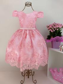 Vestido Festa Infantil Juvenil Realeza Renda Rosa Princesa