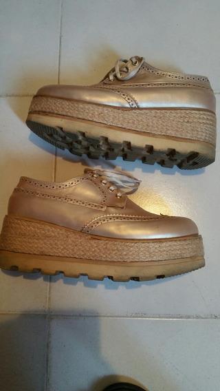 Zapatos Oxford Dorado Talla 39
