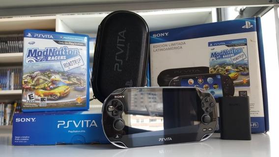Bundle Ps Vita Preto Original + Cartão + Jogo + Case Excelente Estado - Completo