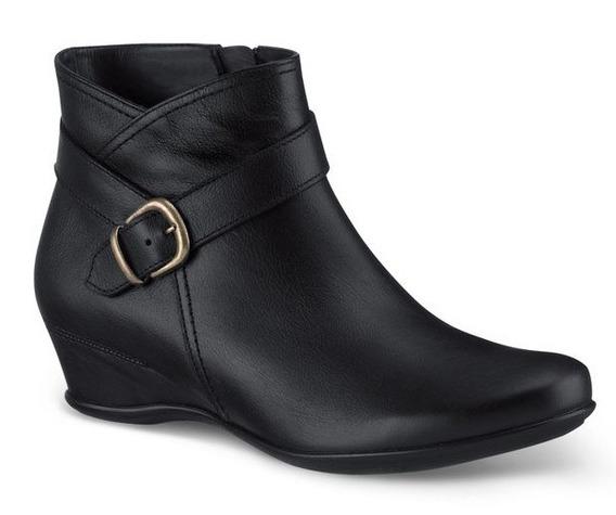 Zapatos Botines Andrea Negros D Piel Para Dama Tacón Bajito