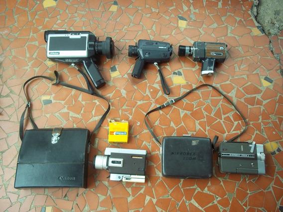 Lote 5 Filmadoras Antigas Super 8 Canon Nikkorex Naigai Rca