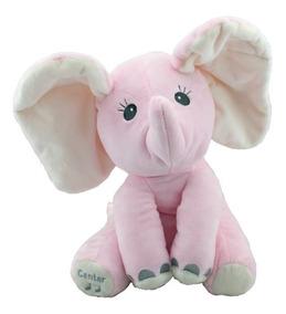 Elefante Pelúcia Musical Mexe Orelhas Rosa Bbr Toys