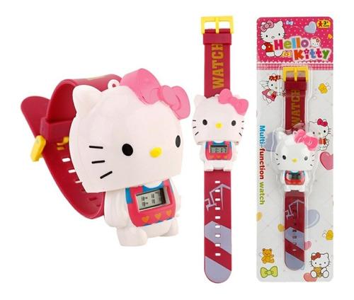 Relógio Colar Criança Hello Kitty 3d Digital Retrátil Menina