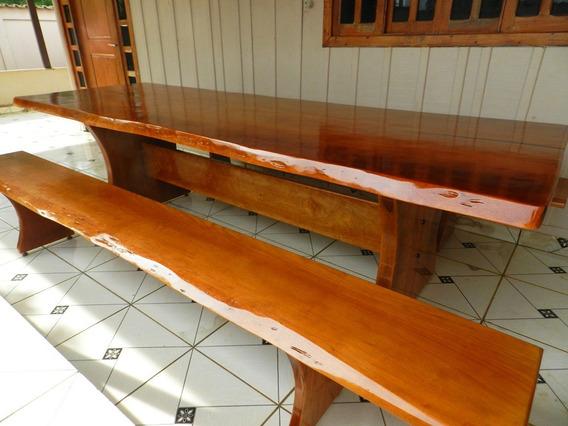 Mesa Rustica Madeira Maciça 2,5mts + 2 Bancos Frete Grátis